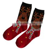 GSC-67 Haining GS custom cartoon big head of elk design red cotton kids children christmas sock