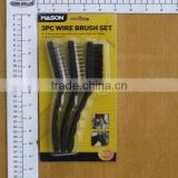 3pc wooden handle steel/brass wire brush / steel wire cup brush/wire brush