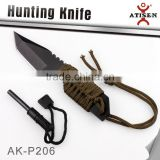 Hot Sale Hunting Fixed Knife 3Cr13 Blade Lanyard Wrapped Handle Outdoor Camping Knife Tools With Magnesium Fire Starter