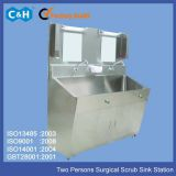 Stainless Steel Materials Two Persons Surgical Scrub Sink Station Unit for Hospital