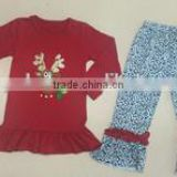 Wholesale reindeer design red shirt cotton girls black dots ruffle pants children boutique clothing set girls outfits