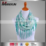 Women's Print Spring Summer Scarf with Fringe Blue Green Shawl