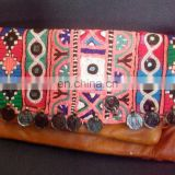 2014 Stunning Coin leather rabbari work banjara clutch bag ,gypsy boho indian fashion vintage clutch