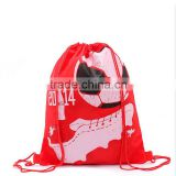 Printed drawstring polyester gym bag for sports football rucksack backpack travel cases