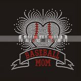 Heart pattern with Baseball Mom letters Hotfix Rhinestone Transfer with Lead free Rhinestone