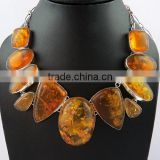 Delicate Design of Amber 925 Sterling Silver Necklace, Gemstone Silver Jewelry, Handmade Silver Jewelry