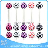 Fashionable design stainless steel custom cheap resin ball beautiful tongue ring