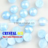Baby blue decorative hot-fix ABS Pearls, flat back half round shape color plastic pearls for garment