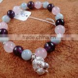 Natural gemstone mixed color rose Quartz crystal and Amethyst and Aquamarine with 925 silver cherry Bracelet
