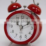 "2.5"" twin bell alarm clock, analog table clock, red twin bell metal alarm clock"