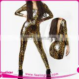 Sexy Leopard Leather And Latex Jumpsuit Catsuits For Ladies