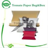 recycling craft red, white, browm pillow box with bowknot, brown kraft paper pillow box