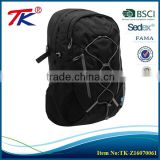 Personalized style black military backpack with reflective detail