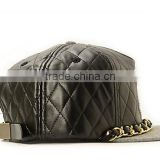 Quilted Black Faux Leather Snapbak Hat Cap Blank Snapback Hat,Black Leather Snapback