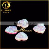 flat heart cut polished pink colored opal gems synthetic opal stones