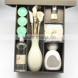 Aroma Diffuser Set with Ceramic Candle Holder and Fragrance Oil and Rattan Stick and Diffuser Ceramic Jar