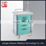 multi-function five drawers plastic-steel columns with IV stand medium size ABS medicial trolley