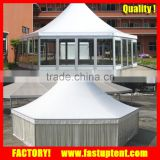 Aluminum alloy frame PVC coated Hexagon Pagoda tent with Glass Pannel wall                                                                         Quality Choice