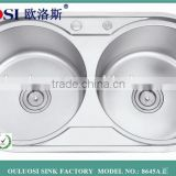 stainless steel double round bowl kitchen sinks                                                                                                         Supplier's Choice