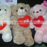 beautiful stuffed plush 3-colour bears toy with embroidered heart pillow for vanlentine day
