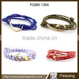 Newest design fashion nautical style anchor fish hook rope braided women and men leather bracelet