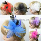 Delicate Wedding Fascinator Veil Feather Hard Yarn Headband Hats Women Brides Hair Accessories bulk