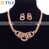 <<< European Style YiWu T&J Women Wedding Necklace Elegant Luxurious Top Crystal Brial Gold Plating Jewelry Earrings sets/