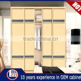 Factory made acrylic bedroom wardrobe sliding door fittings designs india