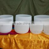 one set 7pieces frosted quartz crystal singing bowls C D E F G A B musical note
