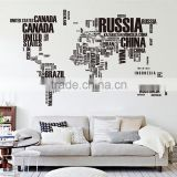 Letter Colorful decal DIY world map vinyl wall sticker