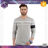 Plain blank popular v-neck mens tri blend long sleeves t-shirt