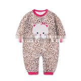 2015 fashion new product Leopard 100% cotton baby winter animal romper for sale