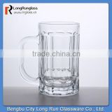 LongRun 378ml hot selling custom logo printing glass beer cup large handle beer steins factory supply