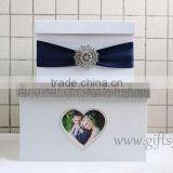Elegant purple wedding money box in handmade with photo frame wedding decorations