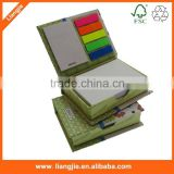 Customized Neon Sticky Strips,Printing Cardholder with combined Sticky notepads, Stationery Set