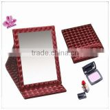 Hot sales! Christmas gift vintage red leather cosmetic mirror WJ-10(PW-51), portable makeup table mirror,folding pocket mirror
