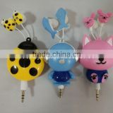 high quality 3.5mm retractable earphone with handly cable manager