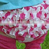 2015 fashion style! lovely pink with white Ruffled Satin Baby's Bloomer/ Disaper cover with lovely Pattern
