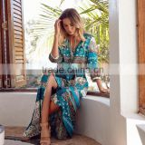 2017 New Fashion Women Paisley Print Long Maxi Dress Summer Beach V-Neck Bohemian Dress apparel