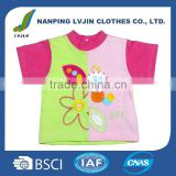 New Design Casual Round Neck Short Sleeve 100% Cotton Baby Girls T-shirt