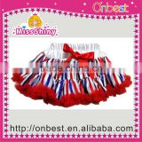 Flag red white and bule pettiskirt with bows for girls