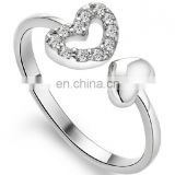 Double heart Real Rhodium plated brass crystal CZ stone ring for Women , Best Wedding gift
