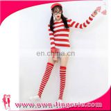 2016 Christmas Cartoon Costume Wally Red and White Striped Cosplay Costume with hat,glasses,stocking