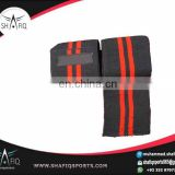 "Wrist Wraps for Lifting 12"" length black with red stripes normal elast"