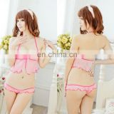 Alibaba Supplier Lace Transparents Erotic hot Girl Women Mature Pink Sex Models of Bra and Panties Lingerie