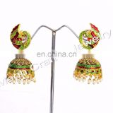Traditional earring, Peacock style jhunki, partywear bali, copper, heavy earring for any occassion, latest, antique jewelry