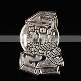 New arrival new design silver plated high quality cute bird lapel pin owl badge