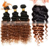 7A Brazilian Hair Weave 3 Bundles With Lace Closure 1BT30 Ombre Hair Bundles With Closure Deep Curly Virgin Hair