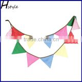 Quality Bunting For Home Decor 10ft length 12 flags Colorful Flag with Mini White Dot PL015