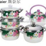 Hot selling enamel cookware sets & tea pot with full decals